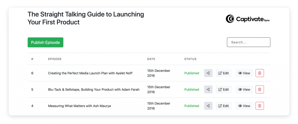 The Captivate Sync™ dashboard allows you to make changes to podcast episodes directly within WordPress