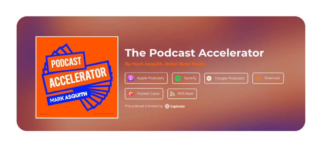 A screenshot of Captivate's single subscription link. Use your Captivate single-subscription page link to give new listeners tons of options for how to try out your podcast.