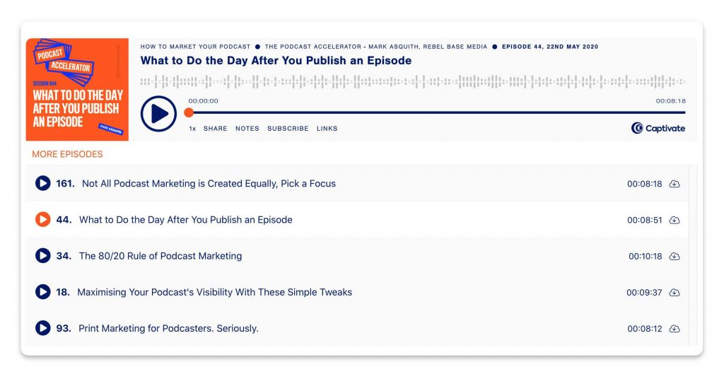 An example of Captivate's Curated Collections, showing a collection named How To Market Your Podcast.
