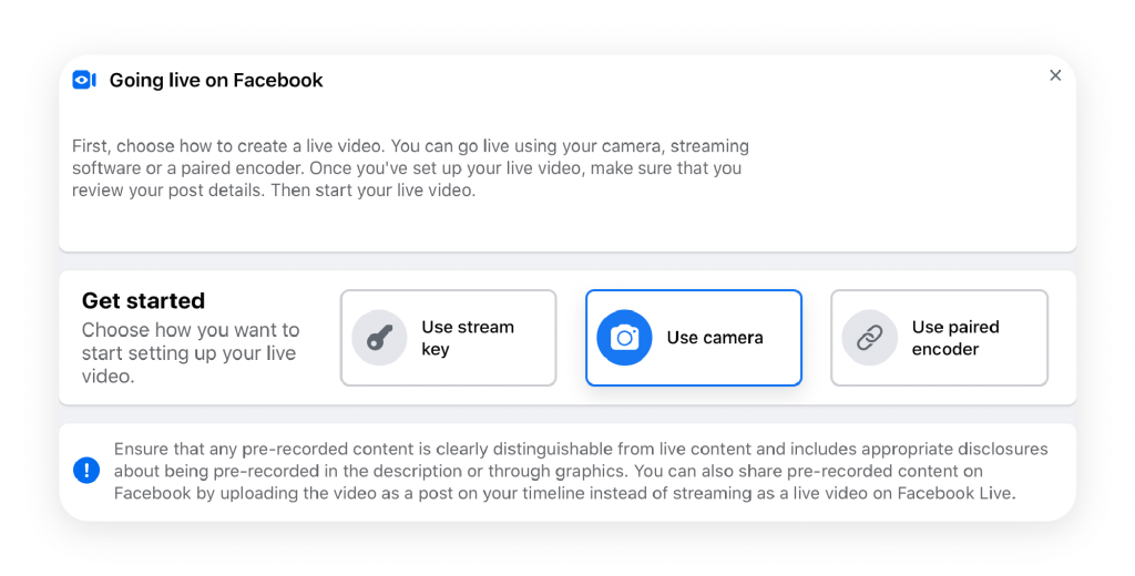 Go live on Facebook by clicking 'Live Video' as a post option. Listeners can tune in without having to watch your live stream video.