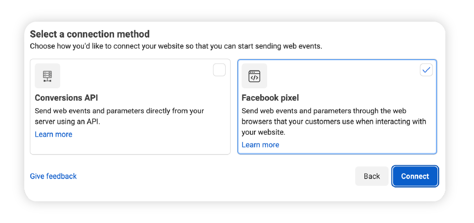 To set up your Facebook Pixel, head to Facebook Events Manager > connect data sources > web. Captivate's free podcast websites support the Pixel already - all you need to do is copy and paste the code!
