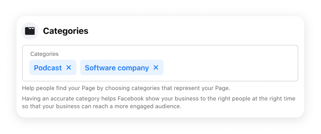 Tag your Facebook page with relevant categories to help users find it better.