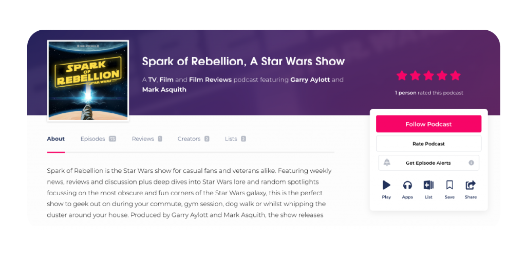 A screenshot of Podchaser's user interface, displaying Spark of Rebellion's reviews. Use features like Podchaser Connect to find and pitch to relevant guests. Claim your profile directly from the Captivate dashboard with our handy integration!