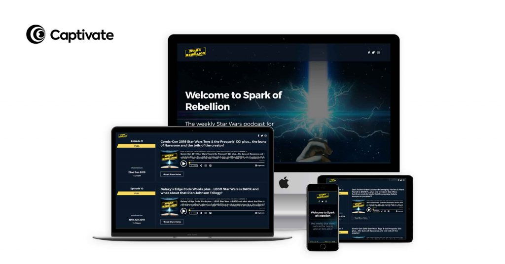Captivate's customizable podcast websites are fully responsive and allow you to add additional features such as team and show bios. Shown in the photo: Spark of Rebellion's podcast website.