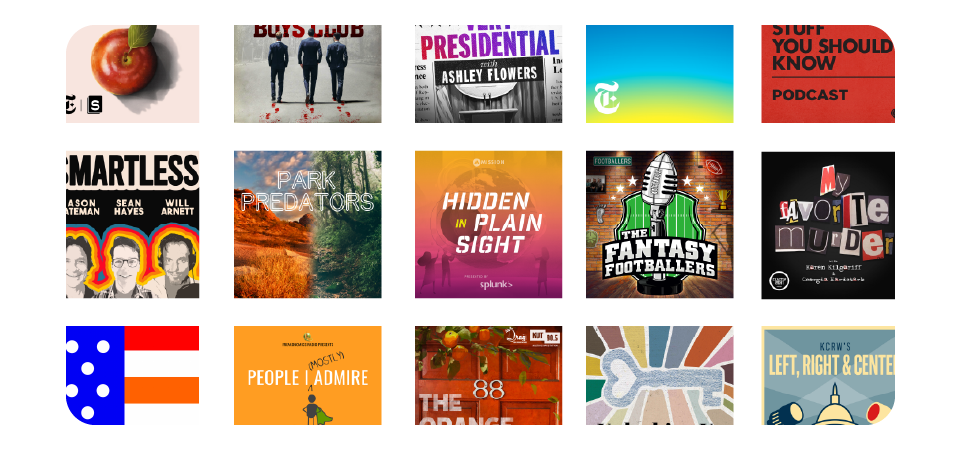 Descriptive, eye-catching, on-theme: just a handful of Apple's Top 50 US Podcasts and their cover art.