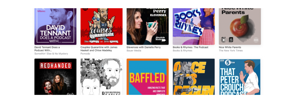 A screenshot of Apple's New & Noteworthy page depicting 10 podcast covers.