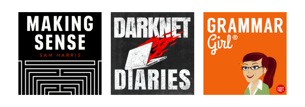Podcasts like 'Darknet Diaries' and 'Grammar Girl' lead with strong, bold and simple text which is visually striking.