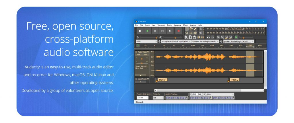 a screenshot of audacity, the free podcast editing and recording software