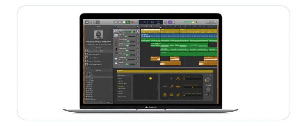 a screenshot of garageband, the podcast editing software