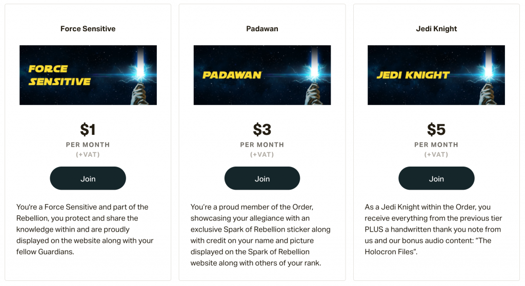 a screenshot of a patreon