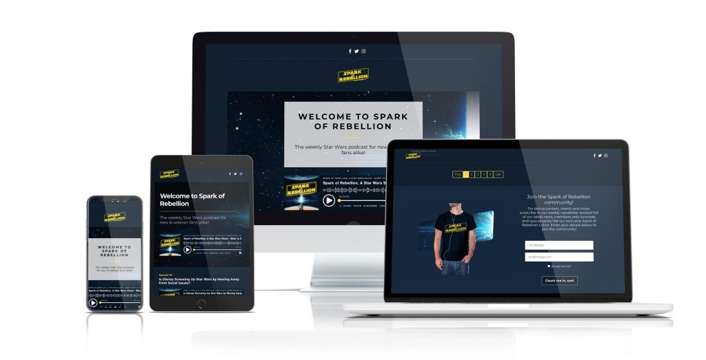 An example of Captivate's customizable, responsive podcast website
