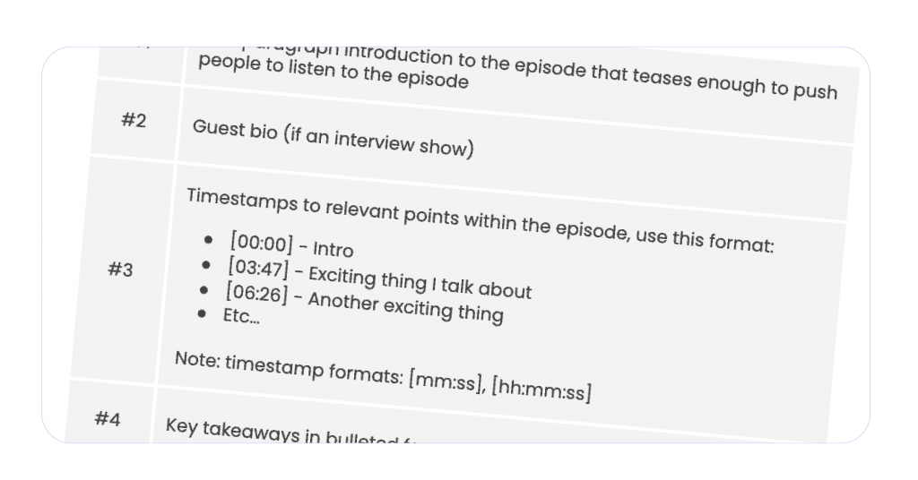 A screenshot of a podcast show notes template