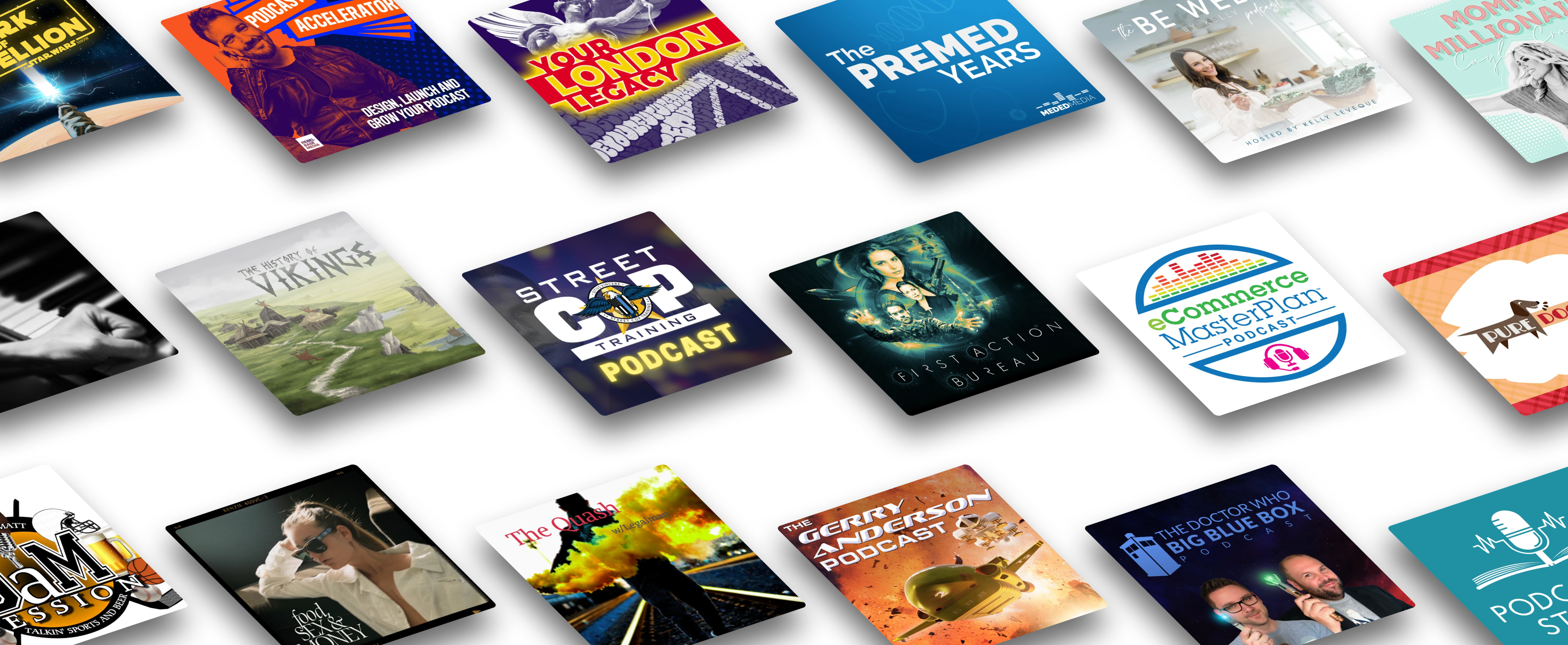 A grid showing a range of podcasts that are hosted and distributed using Captivate