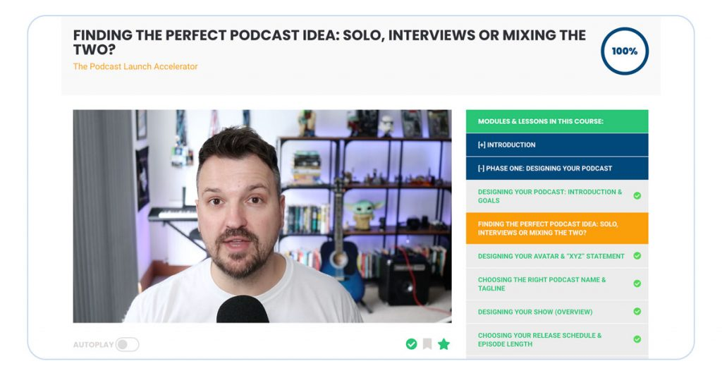 A screenshot of Podcast Launch Accelerator module about podcast ideas