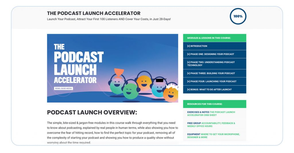 A screenshot showing the homepage of the Podcast Success Academy course