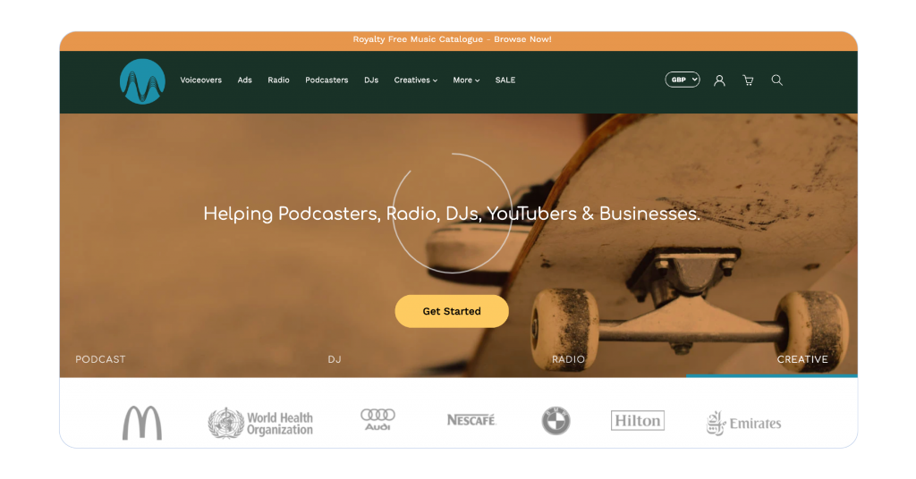 A screenshot of the music radio creative homepage.