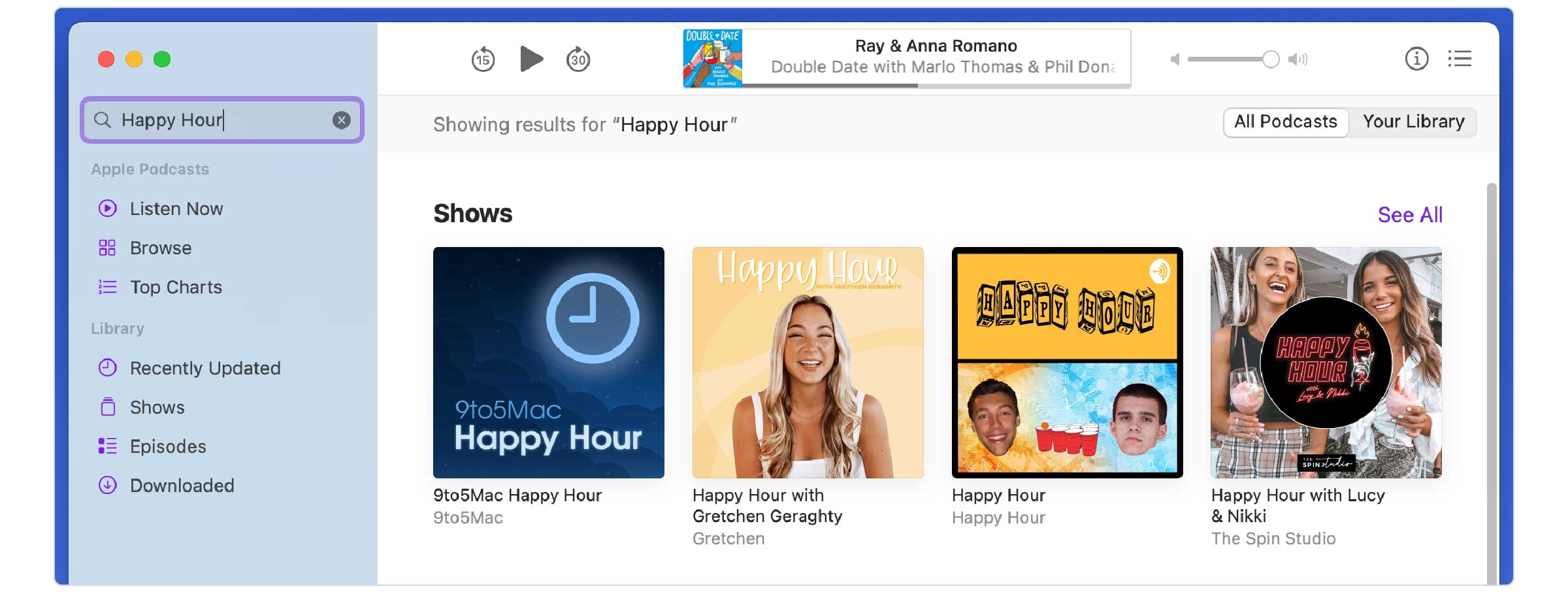 Screenshot of a search inside Apple Podcasts for the podcast name 'happy hour' displaying 4 results of podcasts with the name 'happy hour' or similar