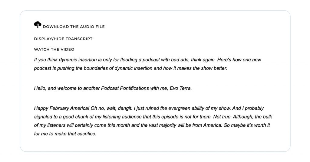 A screenshot of Evo Terra's podcast transcription for Podcast Pontifications. The screenshot shows the ability to download the audio, watch a video of the podcast or view the full transcript, of which a few lines is shown.