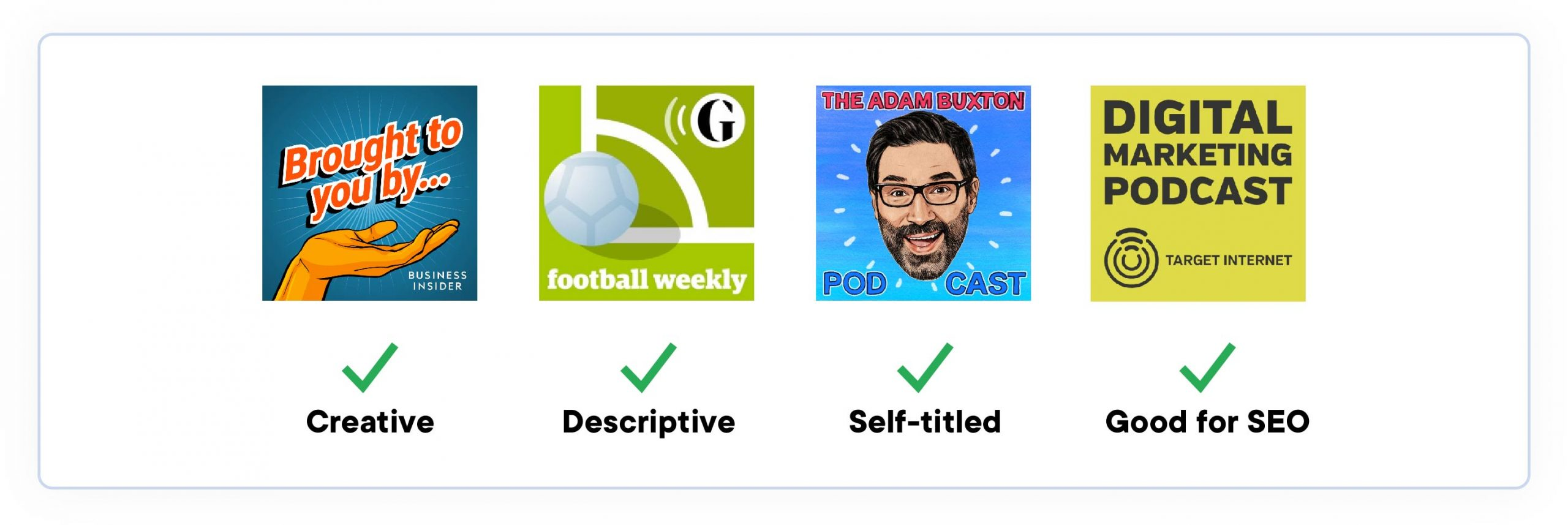 podcast names. 4 podcast covers and names, showing examples of creative, relevant, self-titled and optimized podcast names.