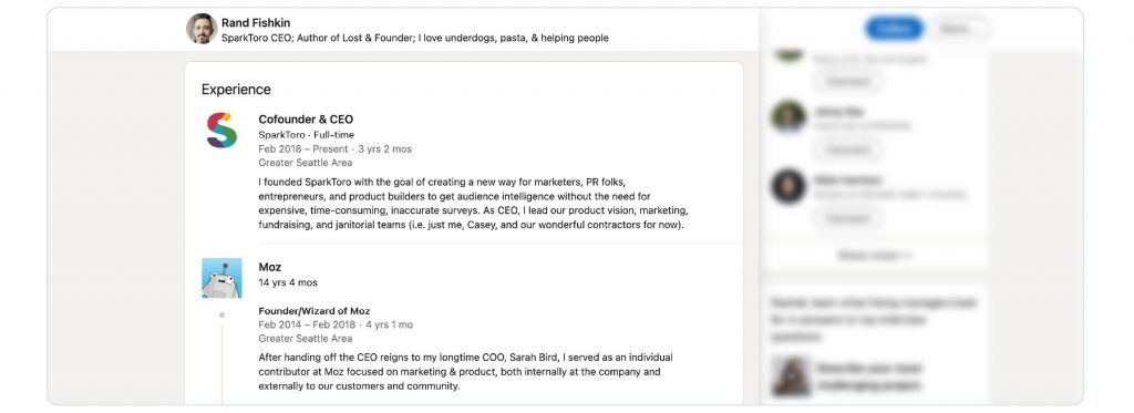 A screenshot of Rand Fishkin's LinkedIn timeline.