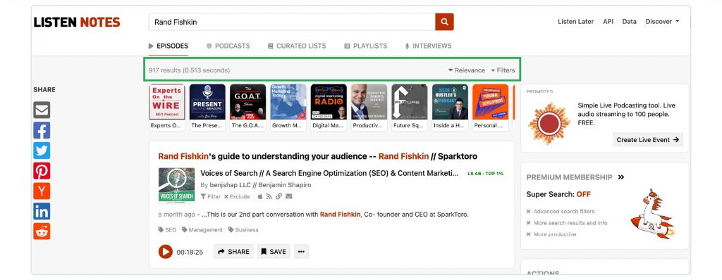 A screenshot of the Listen Notes search results page for Rand Fishkin, showing 917 podcast guesting results.