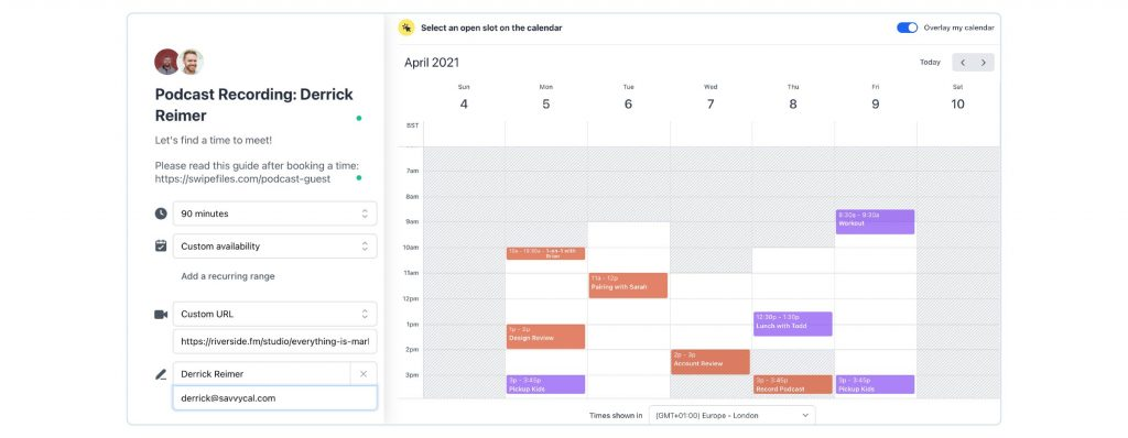 A screenshot of SavvyCal's scheduling dashboard showing personalization options that can be sent to podcast guests.