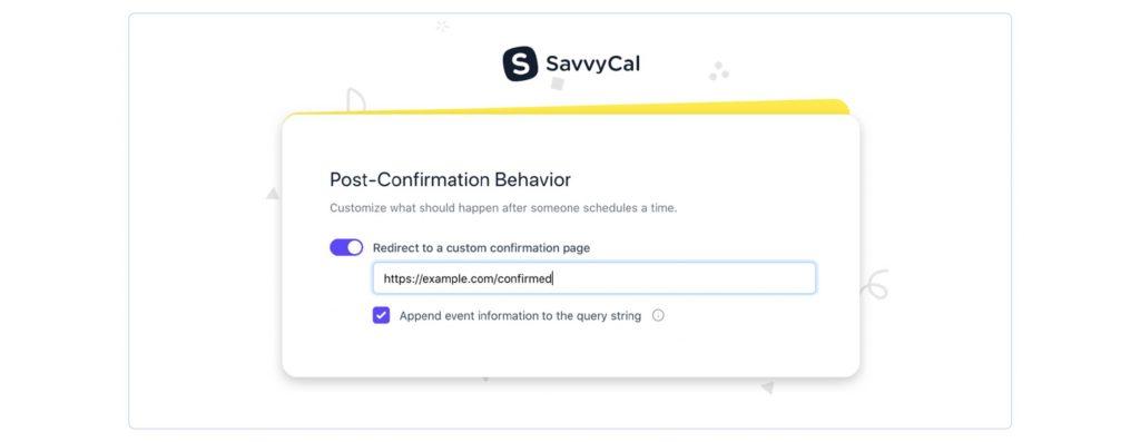 A screenshot of SavvyCal's post-confirmation behaviour