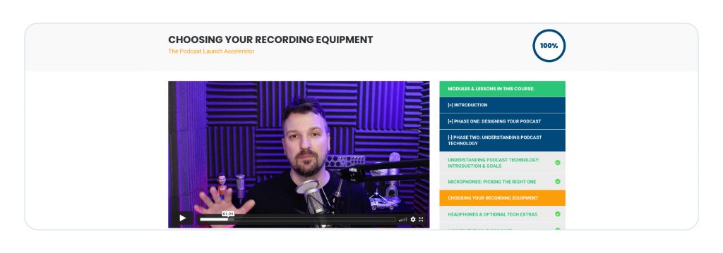 screenshot of a video lesson in the podcast launch accelerator course for 'choosing your recording equipment'