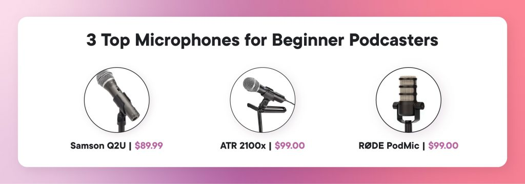 3 top microphones for beginner podcasters: samson Q2U ($89.99), ATR 2100x ($99.99) and Rode Podmic ($99.00)