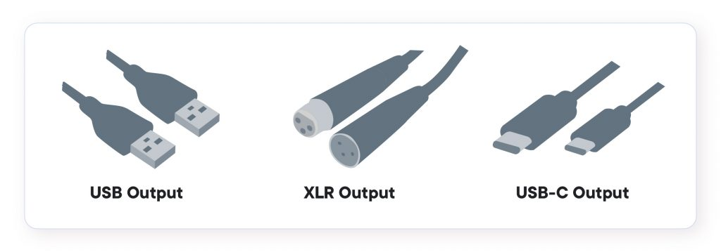 Image shows the 3 different styles of cables and outputs for podcast microphones: USB outputs, XLR outputs and USB-C outputs.