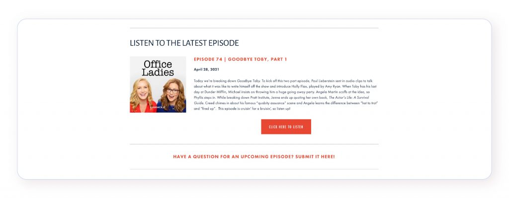 Screenshot of the Office Ladies' podcast website, displaying the latest episode and a call-to-action to contribute to the episode.