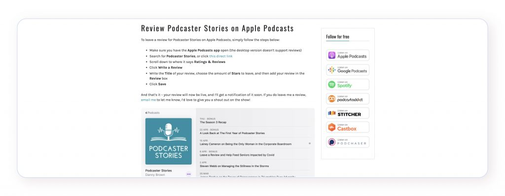 A screenshot of Podcaster Stories' podcast reviews page, with written instructions on how and where to review.