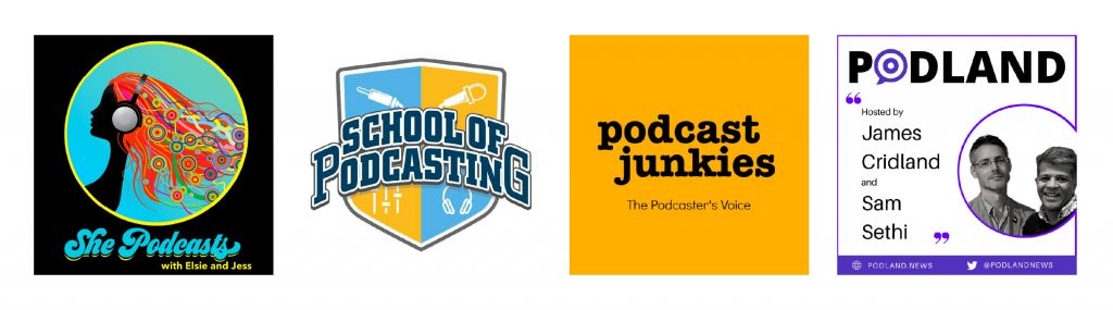 Cover art for She Podcasts, School of Podcasting, Podcast Junkies, Podland