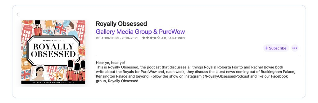 A screenshot of Apple Podcasts showing the title, ratings, category, cover art and description of Royally Obsessed podcast.