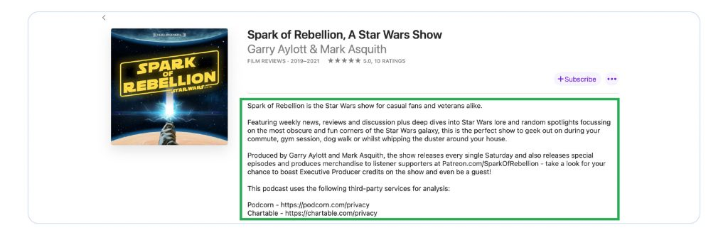 A screenshot of Apple Podcasts, showing the Spark of Rebellion podcast.