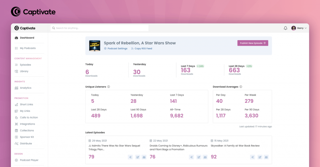 A screenshot of Captivate's new dashboard and new user interface.
