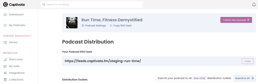 Screenshot of Captivate Distribute dashboard, showing the podcast RSS feed for copying.