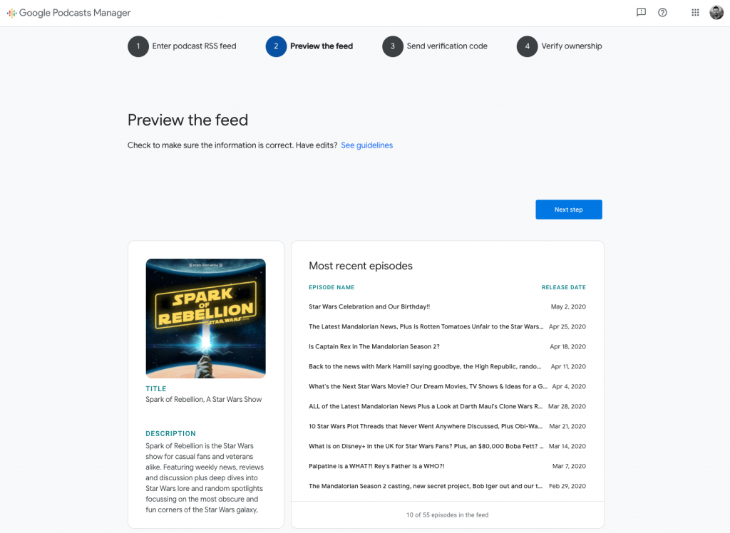 Screenshot of Google Podcasts submission form, showing a preview of the rss feed.