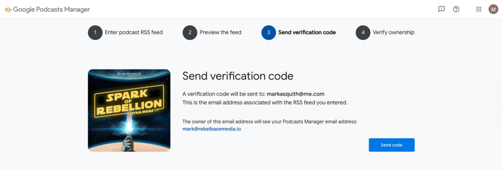 Screenshot of Google Podcasts submission form, showing the 'send verification code' step.