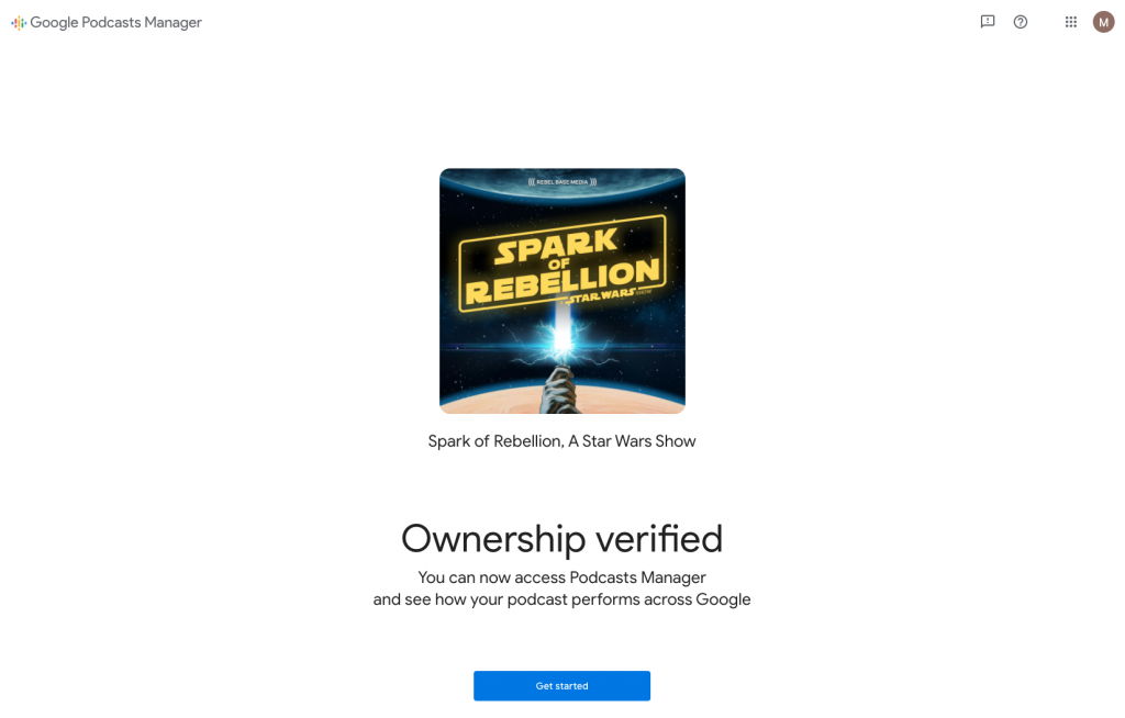 Screenshot of Google Podcasts submission form, showing 'ownership verified'.