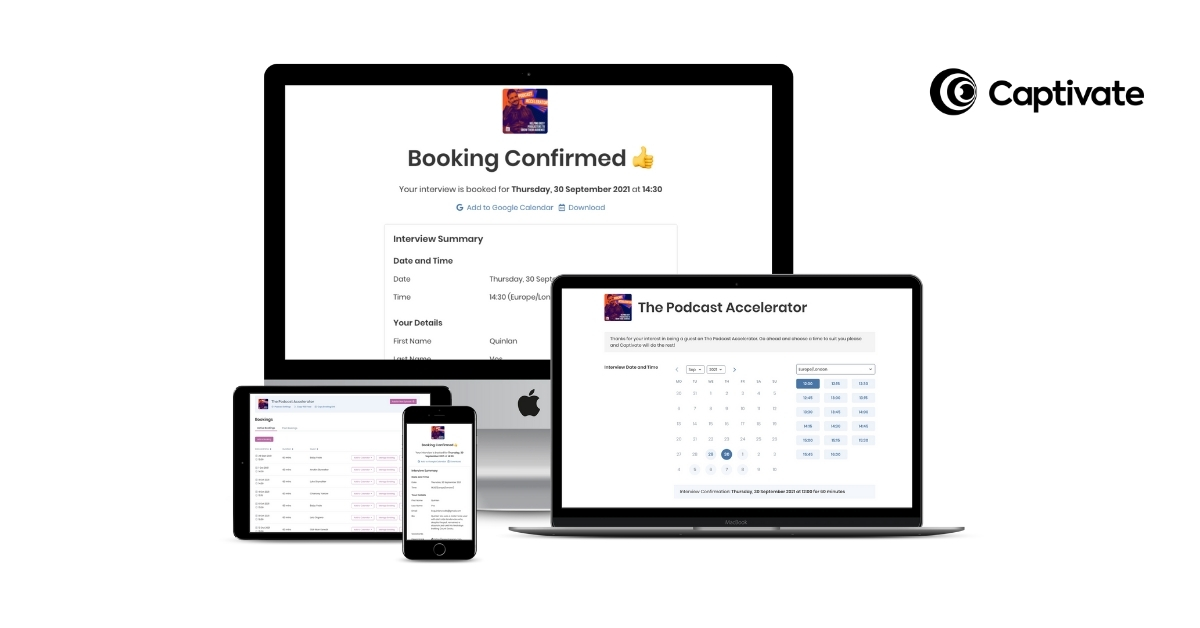 Captivate's complete guest booking & interview management system for podcasters